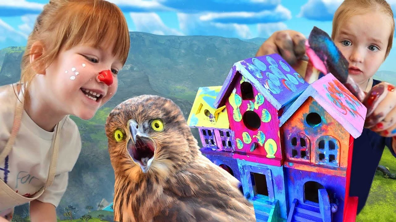 HOW to PAiNT a BiRD HOUSE!! Adley finds Hidden Baby Robin Eggs in the Backyard! Crafts with Niko!