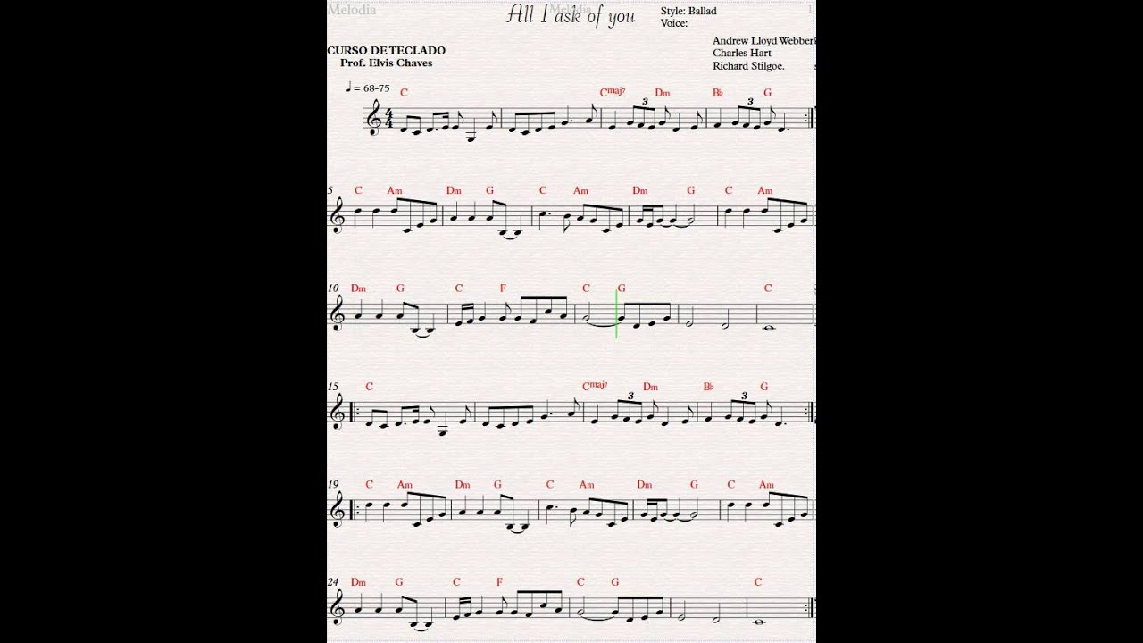 All I ask of you - Partitura - YouTube