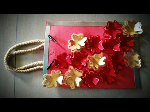 how-to-make-paper-bag-|-diy--paper-flowers-on-paper-bag-|-homemade-paper-bag-design