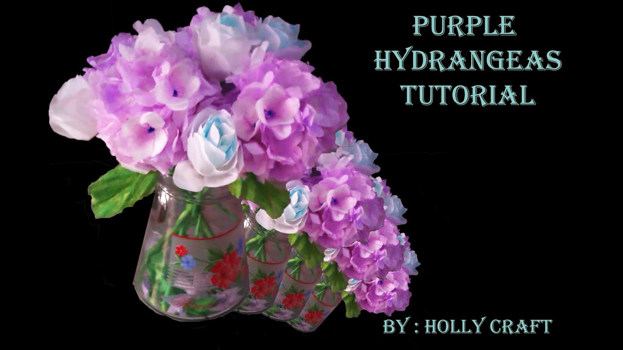 Tissue Paper Flowers Tutorial Purple Hydrangeas Youtube