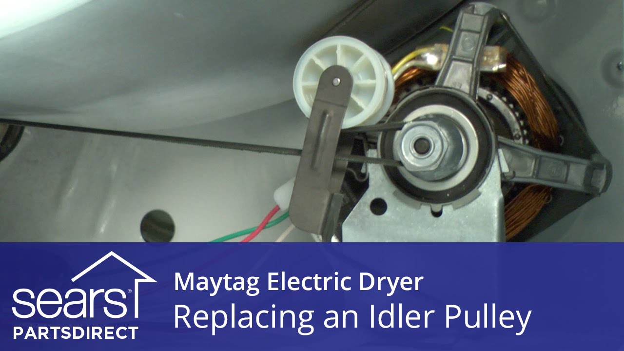 How to Replace a Maytag Electric Dryer Idler Pulley - YouTube