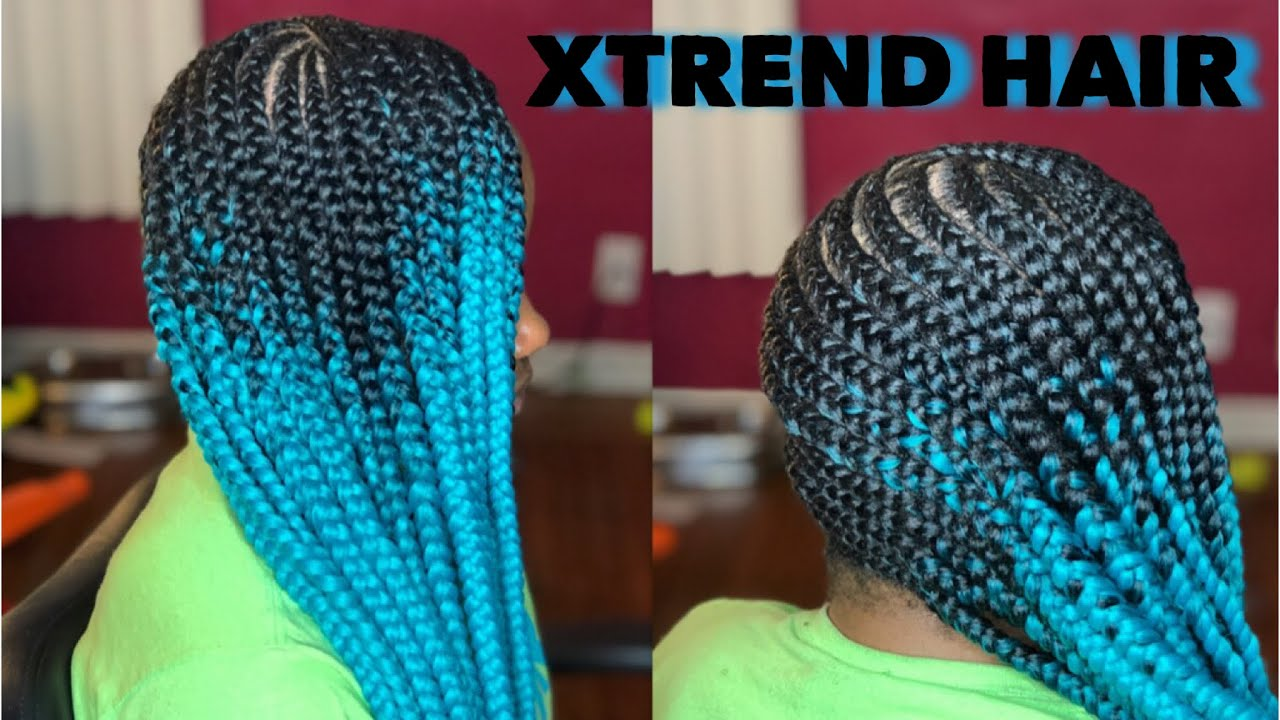 Lemonade Braids on 4C Hair Using Only Edge Control ... Ombre Hair Blue And Green