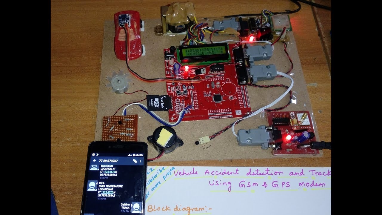 vehicle accident detection and tracking system using gsm gps and arm7 lpc2148 [ 1280 x 720 Pixel ]