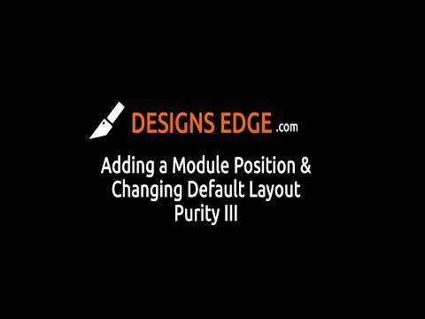 Joomla Tutorial: Purity III - Add Module Position & Change Default Layout