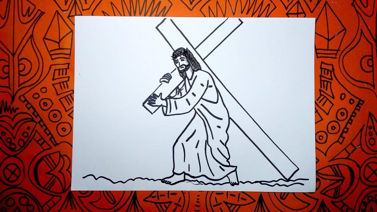 Aprende A Dibujar A Jesus Con La Cruz En El Viacrucis