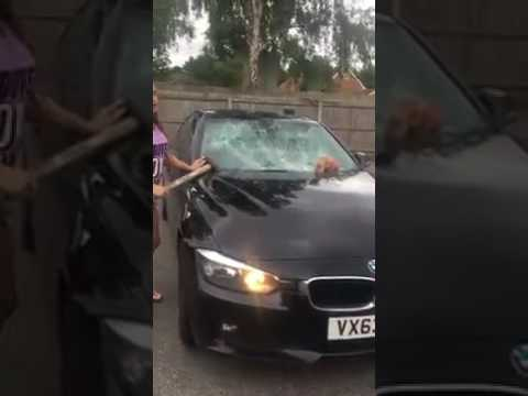 Traveller Woman Breaks Up her husband's car