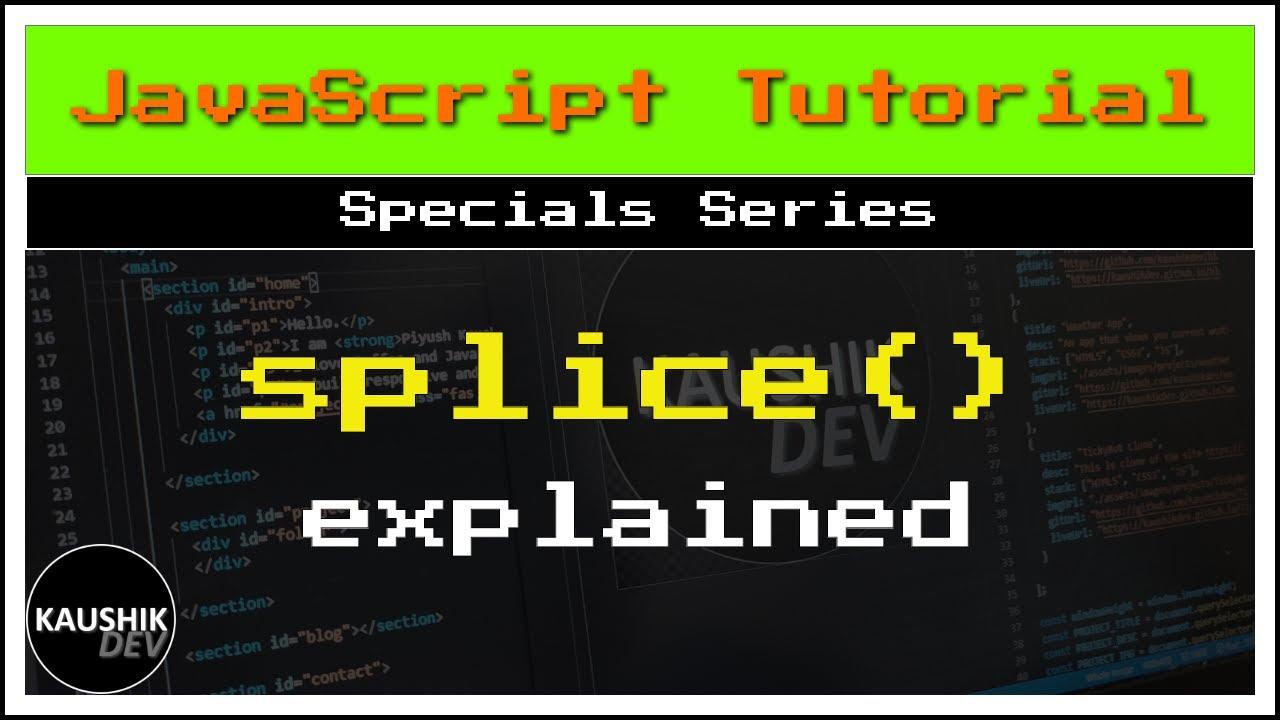 #Javascript Specials | Splice Method | English Tutorial ...
