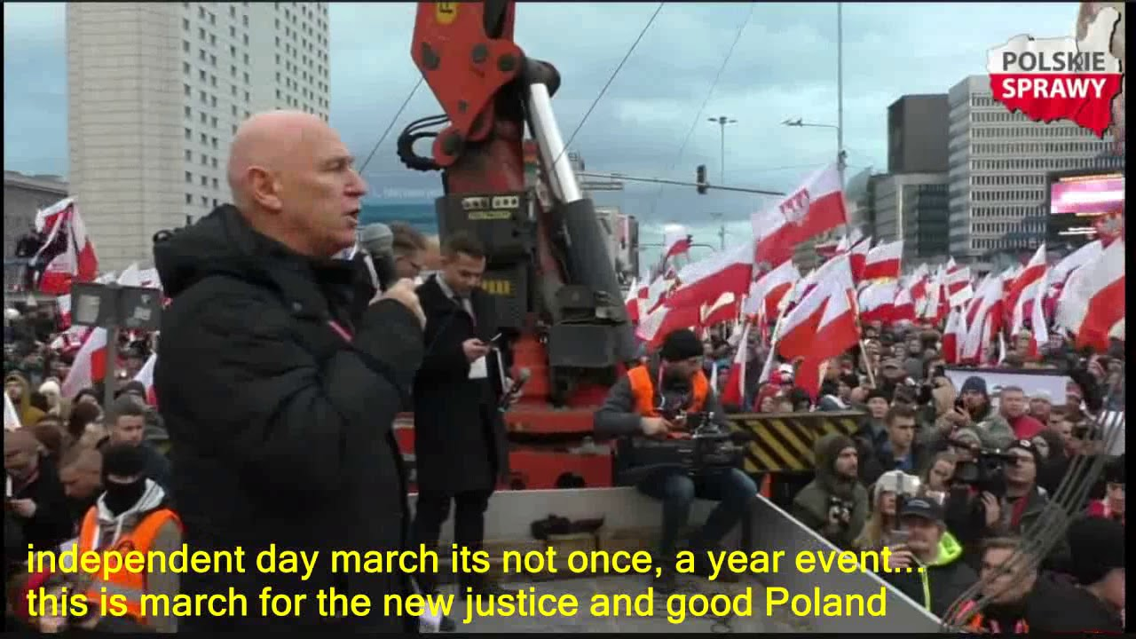 Polish historian Leszek Żebrowski a message to Europe and Poland at Independence day march