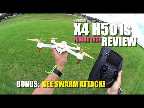 HUBSAN X4 H501s GPS QuadCopter Drone Review - Part 2 - [Flight Test, BEE ATTACK!, Pros & Cons]