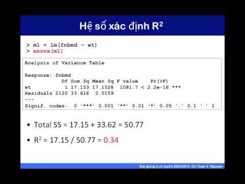 Bài giảng 31: phân tích hồi qui tuyến tính, phần 2 (phân tích phương sai)