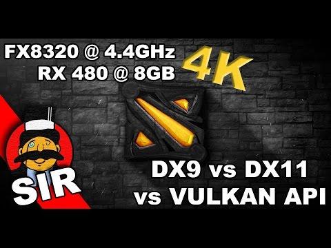 DOTA 2 | 4K | RX 480 | DX9 vs DX11 vs VULKAN API | ULTRA SETTINGS FPS PERFORMANCE