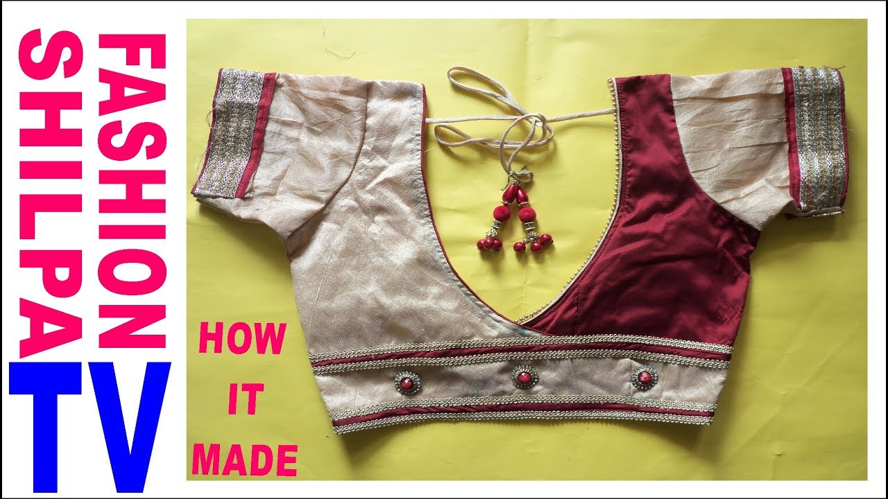 How To Make Designer Blouse At Home 71 Designer Bridal Back Neck Blouse Pattern Cutting Stitching Youtube