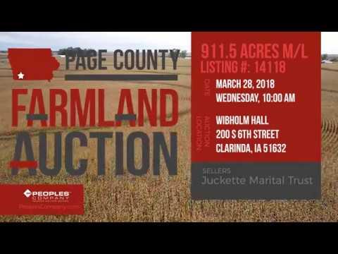 911.5 Acres M/L Page County Iowa Farmland Auction