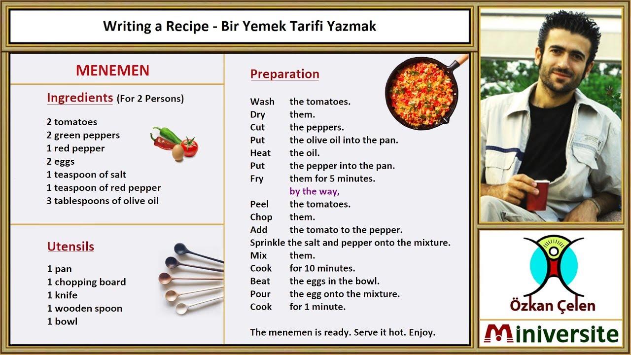 28. Writing a Recipe - Bir Yemek Tarifi Yazmak