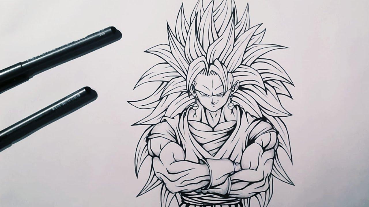 Sketching inking vegito super saiyan 3 dragonball z tolgart