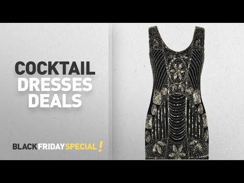 Cocktail Dresses Black Friday Featuring: PrettyGuide Women's 1920s Gatsby Sequin Art Deco Scalloped