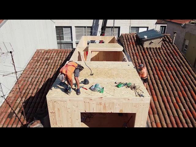 Edificio madera CLT Sabadell construcción
