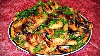 Куриные крылышки в медово-горчичом маринаде, видео-рецепт.