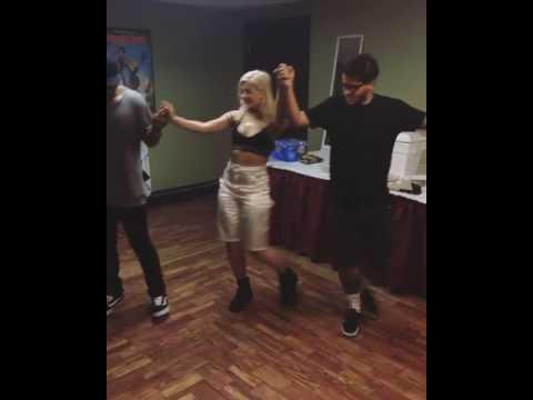 Bebe Rexha Teacher Her Crew To Albanian Dance!