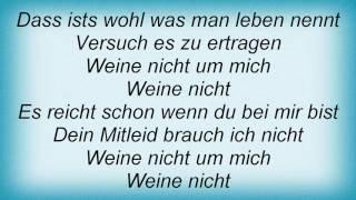 Rosenstolz - Weine Nicht Lyrics