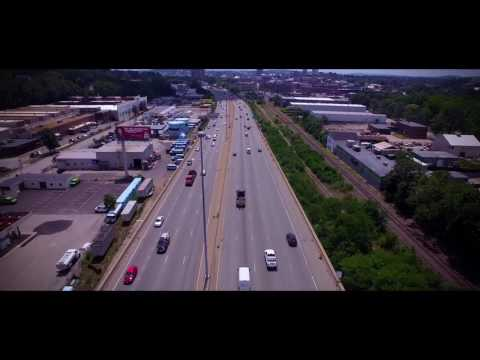 Aerial shots of I-290 Worcester, MA
