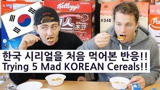 5가지의 한국 시리얼을 처음 먹어본 모델의 반응!! (348/365) Trying 5 Mad KOREAN Cereals!!