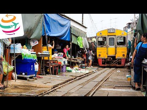 Von Bangkok zum Mae Klong Zugmarkt Railway Market | GlobalTraveler.TV