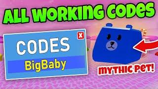 TUTTI 16 I CODES DI LAVORO & MYTHIC PET - Baby Simulator Roblox