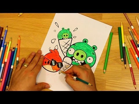 Angry Birds Coloring Red Bird And Scared Minion Piggies