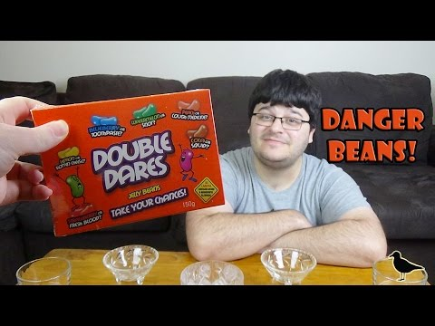 Double Dare Beans Challenge Gross Jelly Bean flavours! Blood Squid Snot Rotten | Birdew Reviews