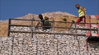 Leiria - Construção muro em Gabiões - Gabions wall construction