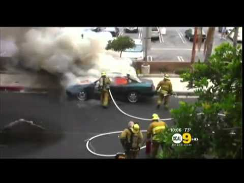 Fire Fighter Car Explosion In The Face