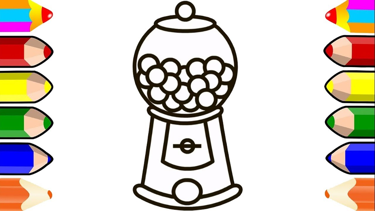 Gumball Machine Bubble Gum Balls  Coloring Pages for Kids Toddlers
