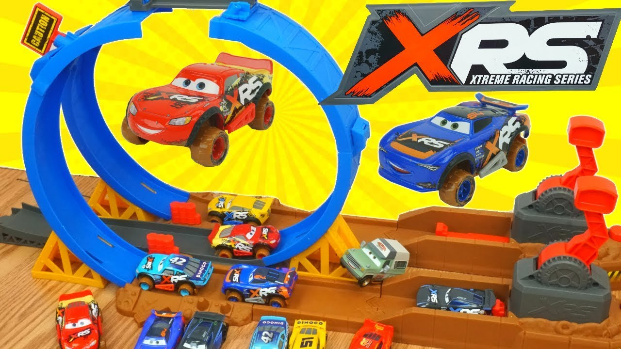 Disney Cars Xrs Racing Mud Track Racers 360 Loop Battle Challenge