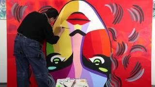 The Curves Of Her Lips Rewrite History - Pop Mona Lisa Series by Vladimir Nazarov
