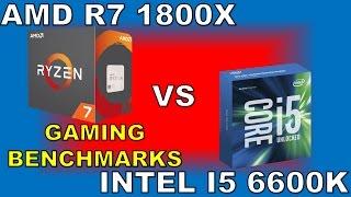 Video AMD Ryzen 7 1800X vs Intel Core i5 6600K Gaming Benchmarks 1080P download MP3, 3GP, MP4, WEBM, AVI, FLV Oktober 2018