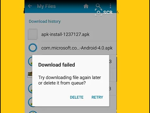 Download Failed: try downloading file again later or delete it from queue?  Android Download History