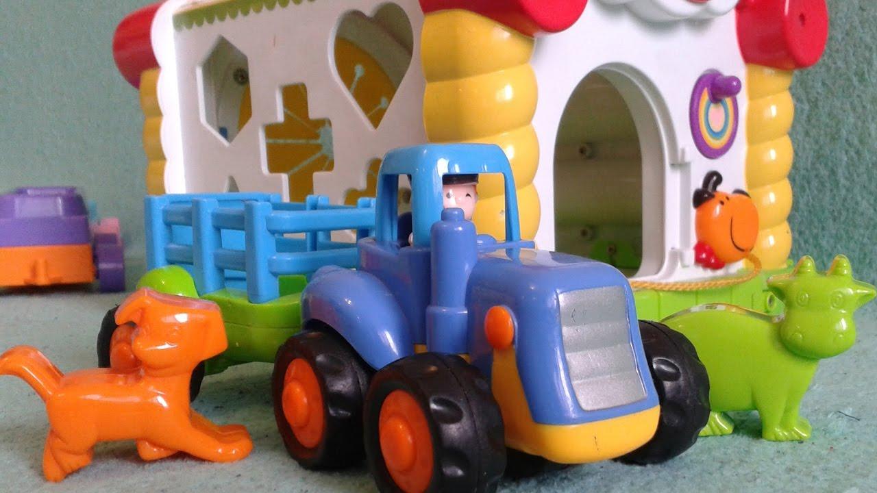 Синий трактор Экскаватор знакомство с животными Мультик ...