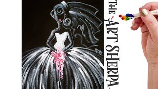 Divinely Easy how to paint a Bride on Canvas in Acrylic real time tutorial