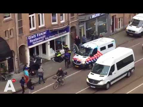 Muslim man holding palestinian flag attacks Kosher restaurant in Amsterdam