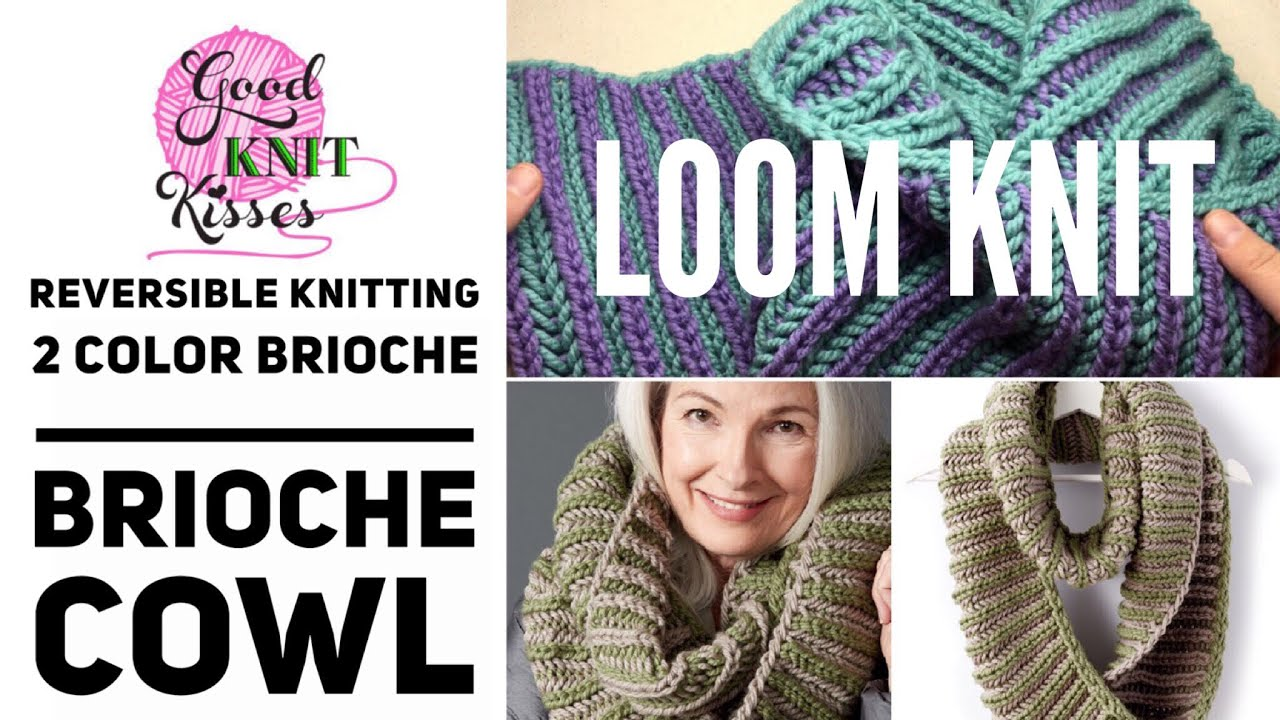 Loom Knitting With Two Colors : Loom knit 2 color brioche cowl cc bicolor youtube