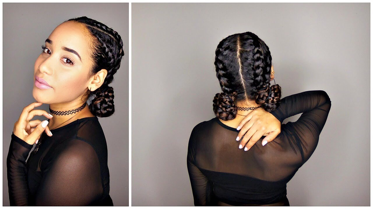 Braided Space Buns Tutorial For Curly Hair Youtube