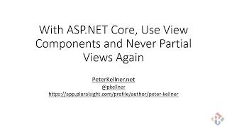 Use View Components, not Partial Views, in ASP.NET Core