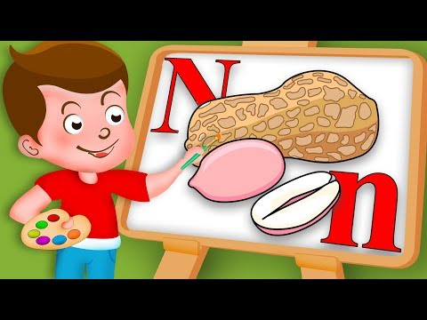 Drawing Alphabet N Letter with Nuts Drawing Paint And Colouring For Kids kidsdrawingtv