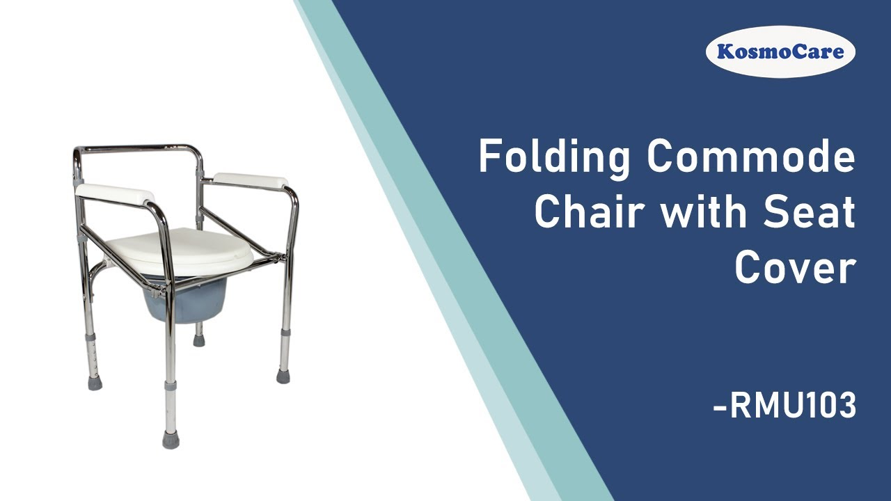 KosmoCare Premium Imported Folding Commode with Seat Cover - YouTube