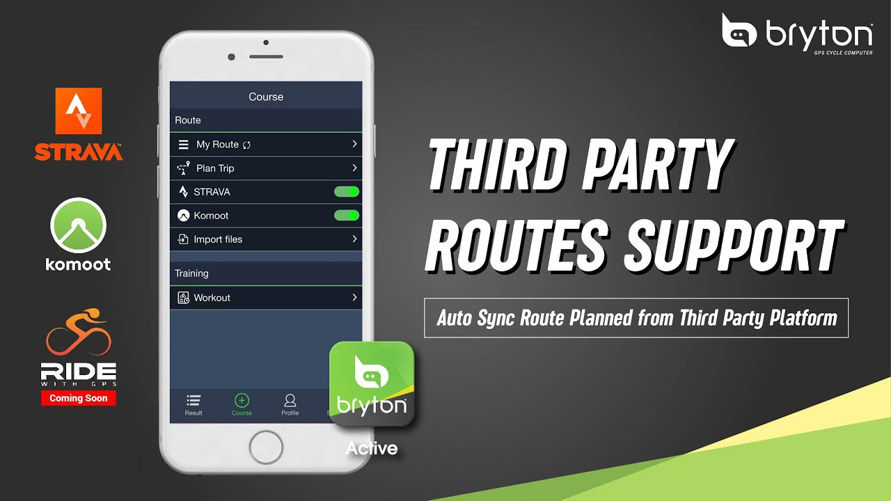 Bryton Active | 3rd Party Routes Support - Auto Sync from  Strava/Komoot/RideWithGPS