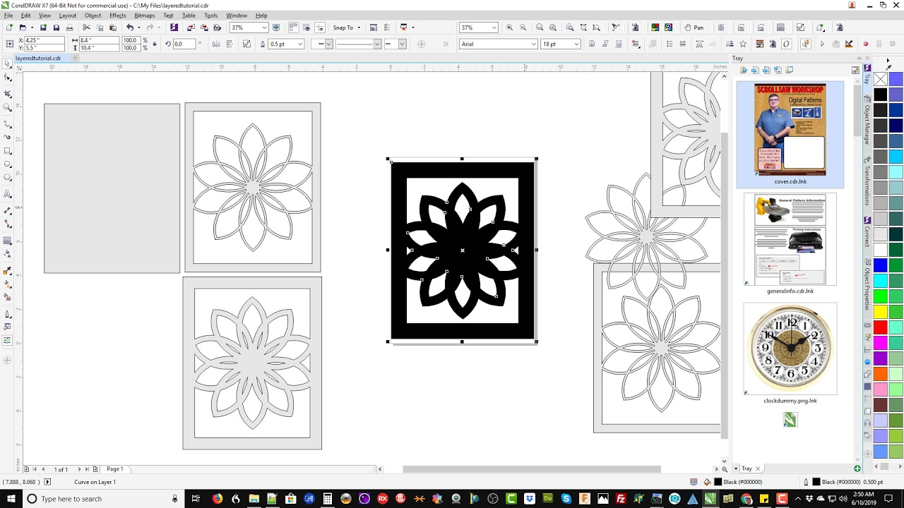 Corel Draw Tutorial: Layered Art Design for Scroll Saw or Laser Cutter: