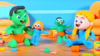 Kids Making Play-Doh Figures ❤ Cartoons For Kids