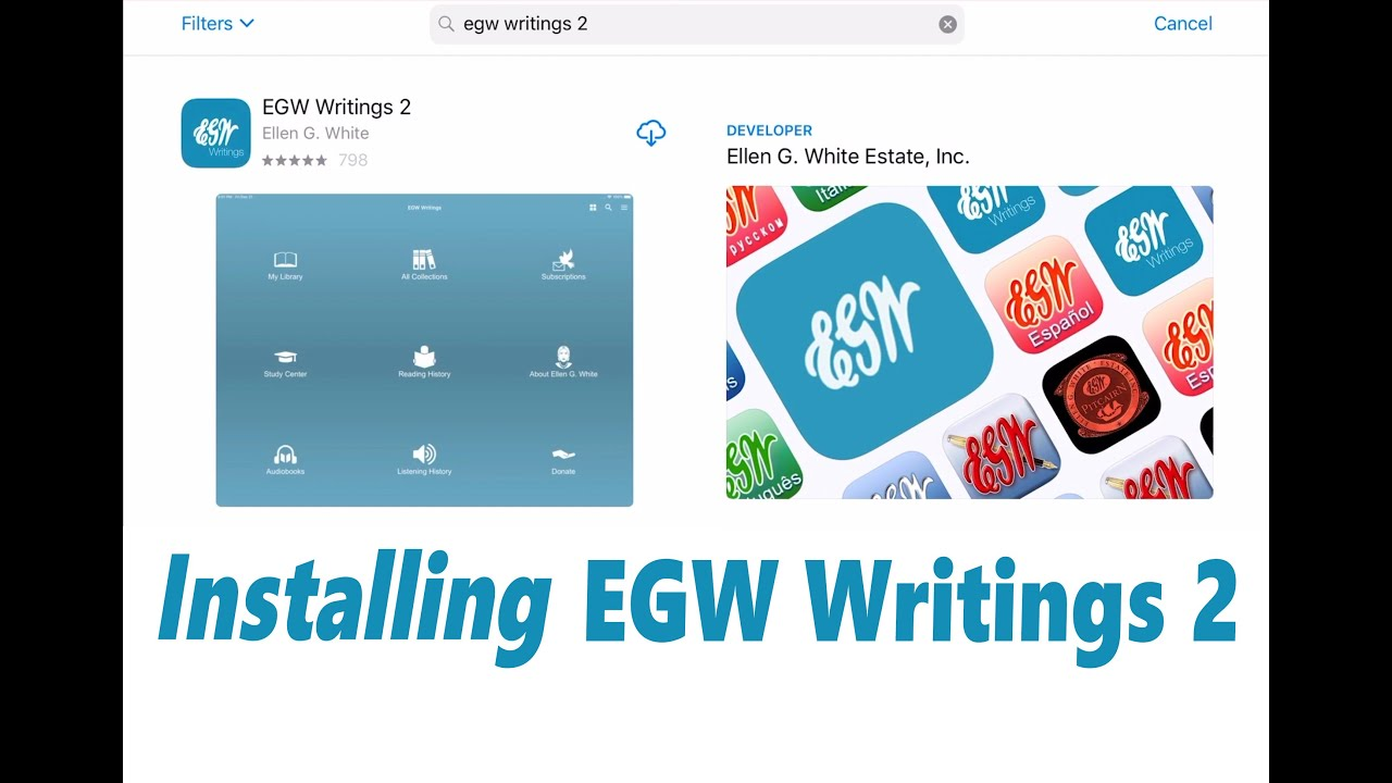 EGW Writings 2 for iOS - first time install and setup