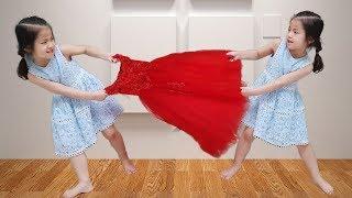 마트는 누가 갈까요?!! 서은이의 빨간드레스 택배 선물 공주 드레스 화장놀이 Twince for Red Princess Dress